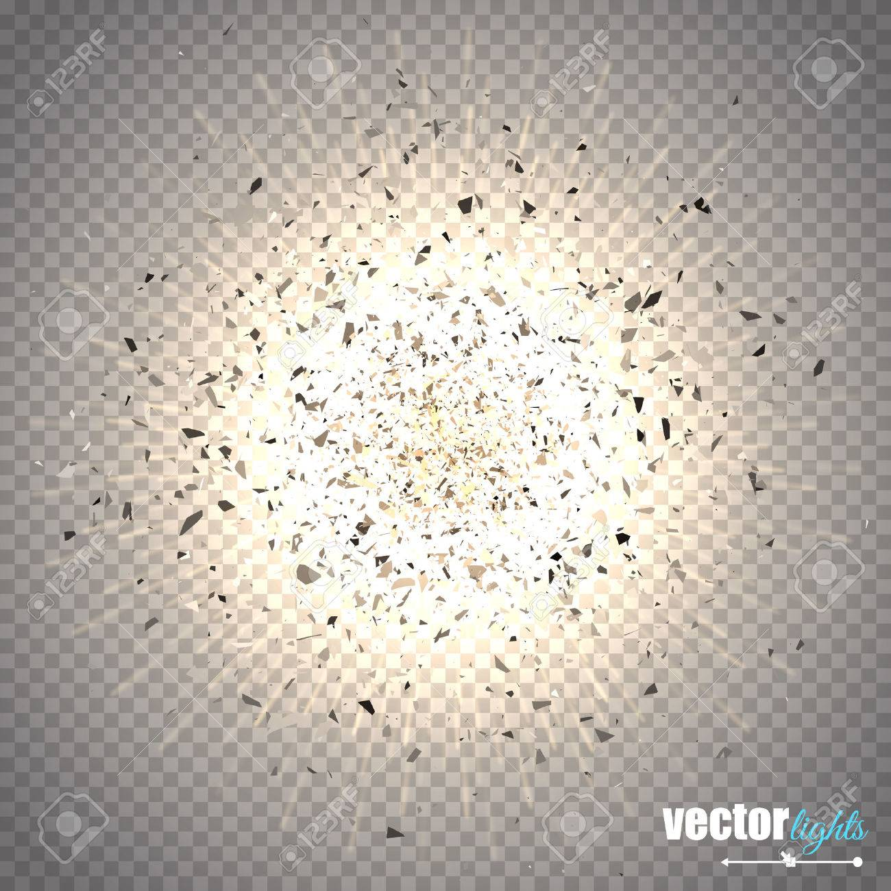 Abstract vector explosion. Star explosion with particles isolated on transparent background. - 52725514