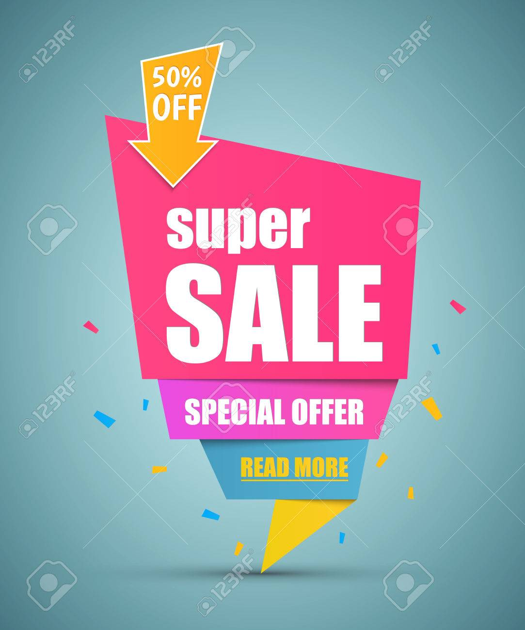 Super Sale paper banner. Sale background. Super Sale and special offer. - 53156087