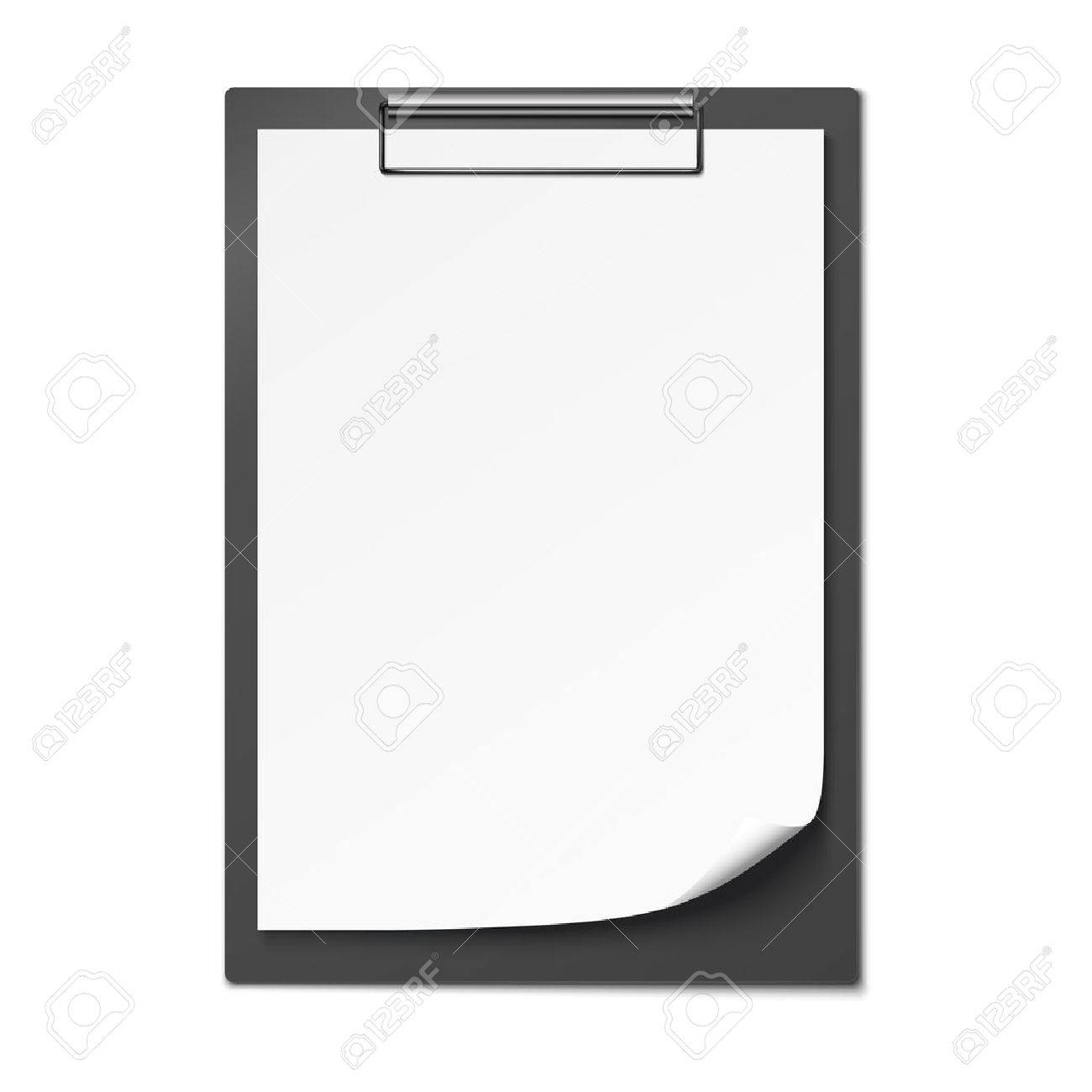 Clipboard with blank paper isolated on white background. Vector illustration - 55754204