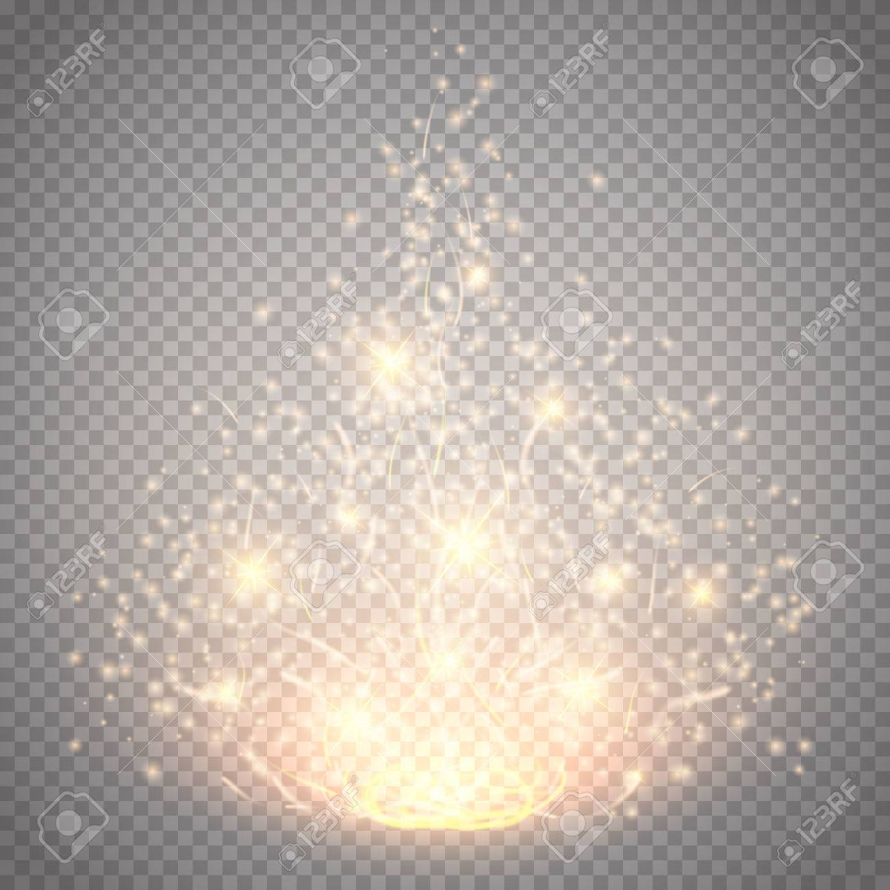 Magic light vector effect. Glow special effect light, flare, star and burst. Isolated spark. Vector illustration - 55755708