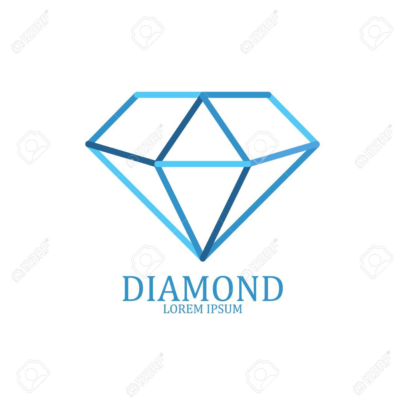 Diamond logo isolated. Brilliant gemstone sign. Vector illustration - 55755799