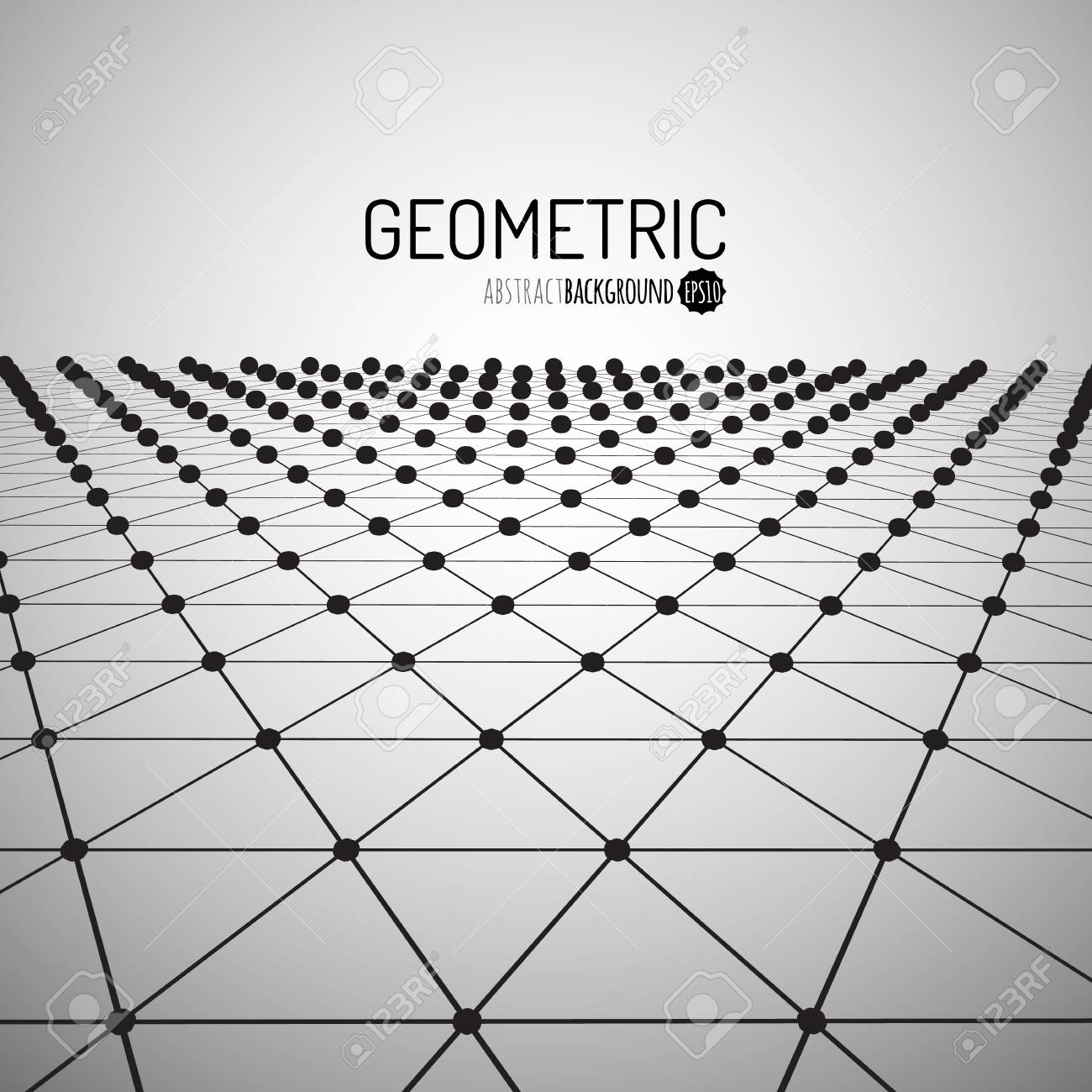 Technology vector geometric background. Futuristic concept. Connected triangles with dots. Vector illustration - 55756423
