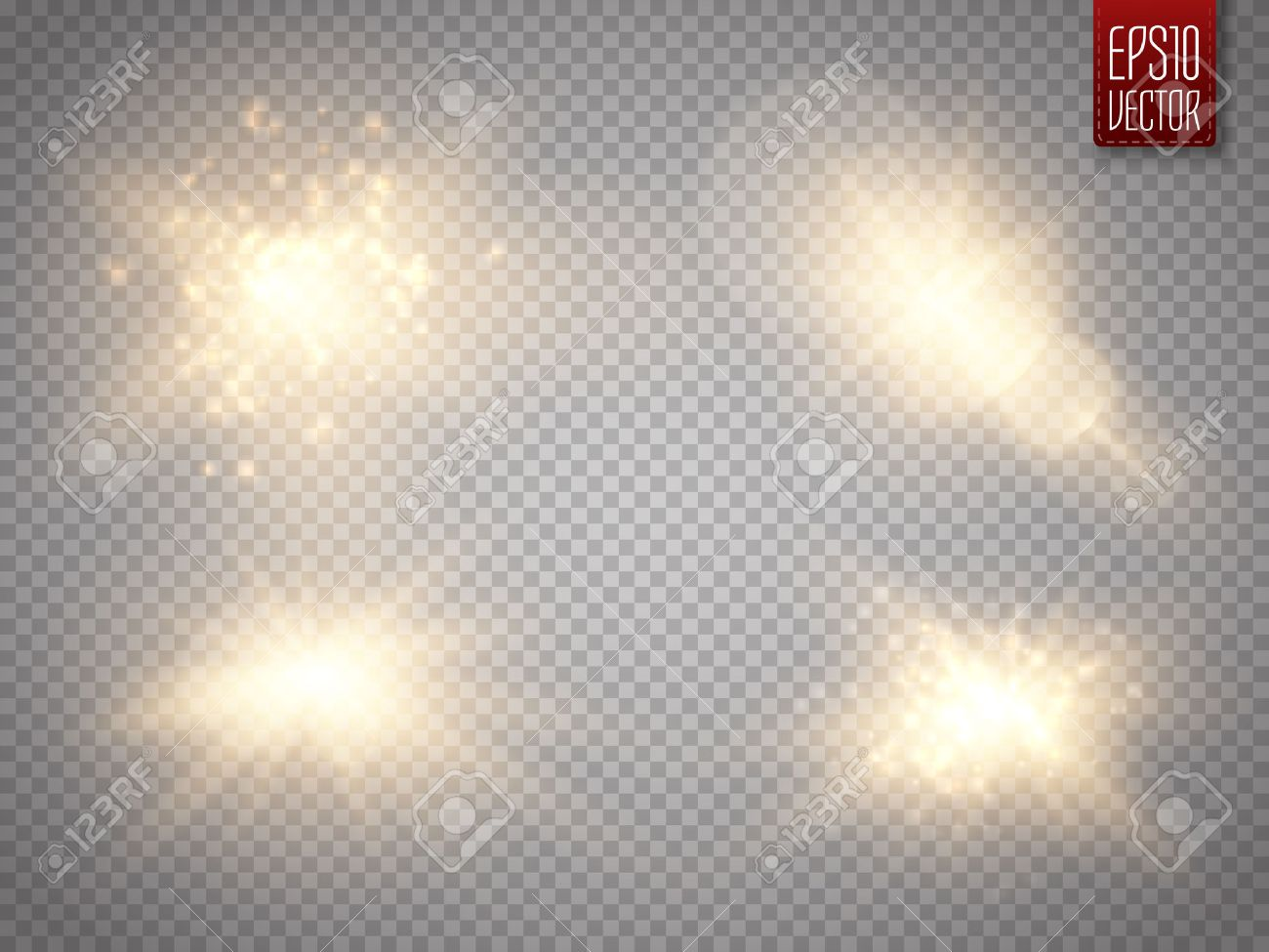 Set of golden glowing lights effects isolated on transparent background. Sun flash with rays and spotlight. Glow light effect. Star burst with sparkles. Vector illustration - 58730348