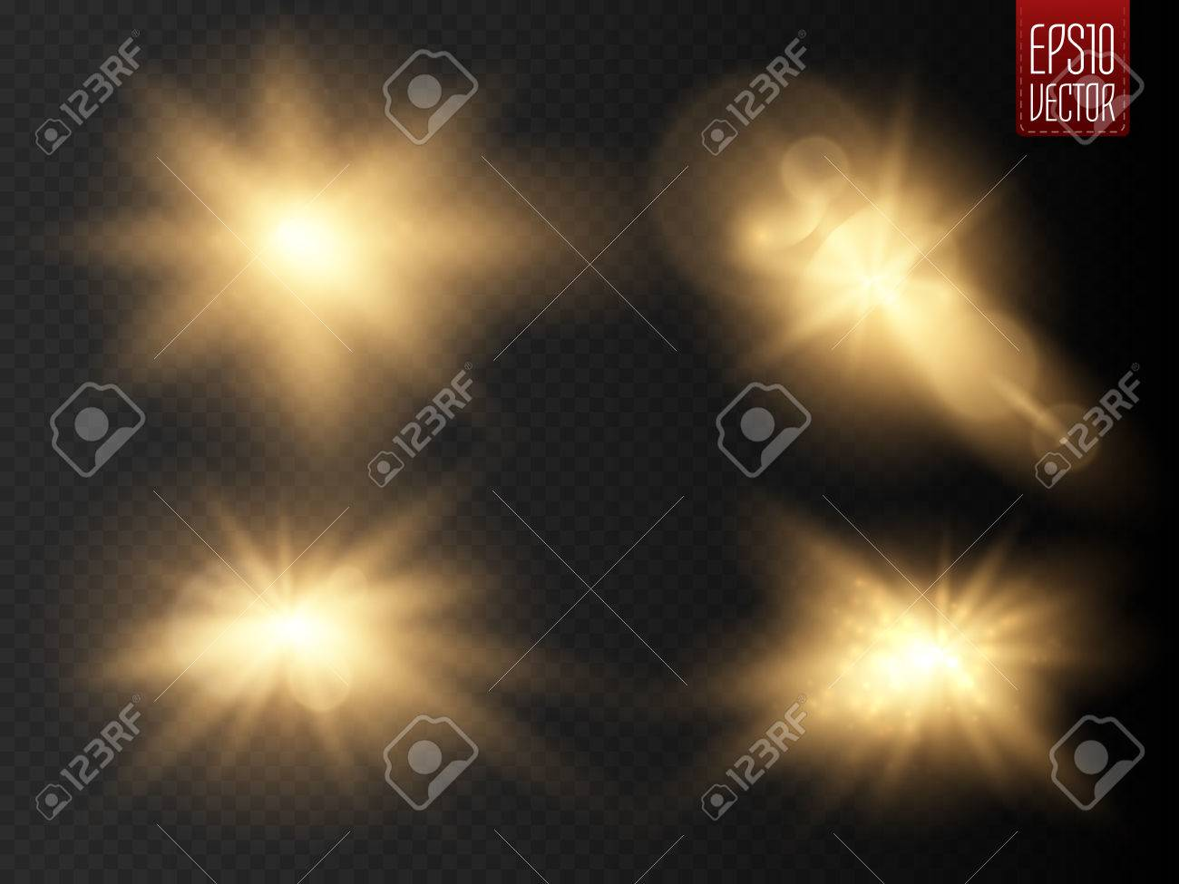 Set of golden glowing lights effects isolated on transparent background. Sun flash with rays and spotlight. Glow light effect. Star burst with sparkles. Vector illustration - 58730350