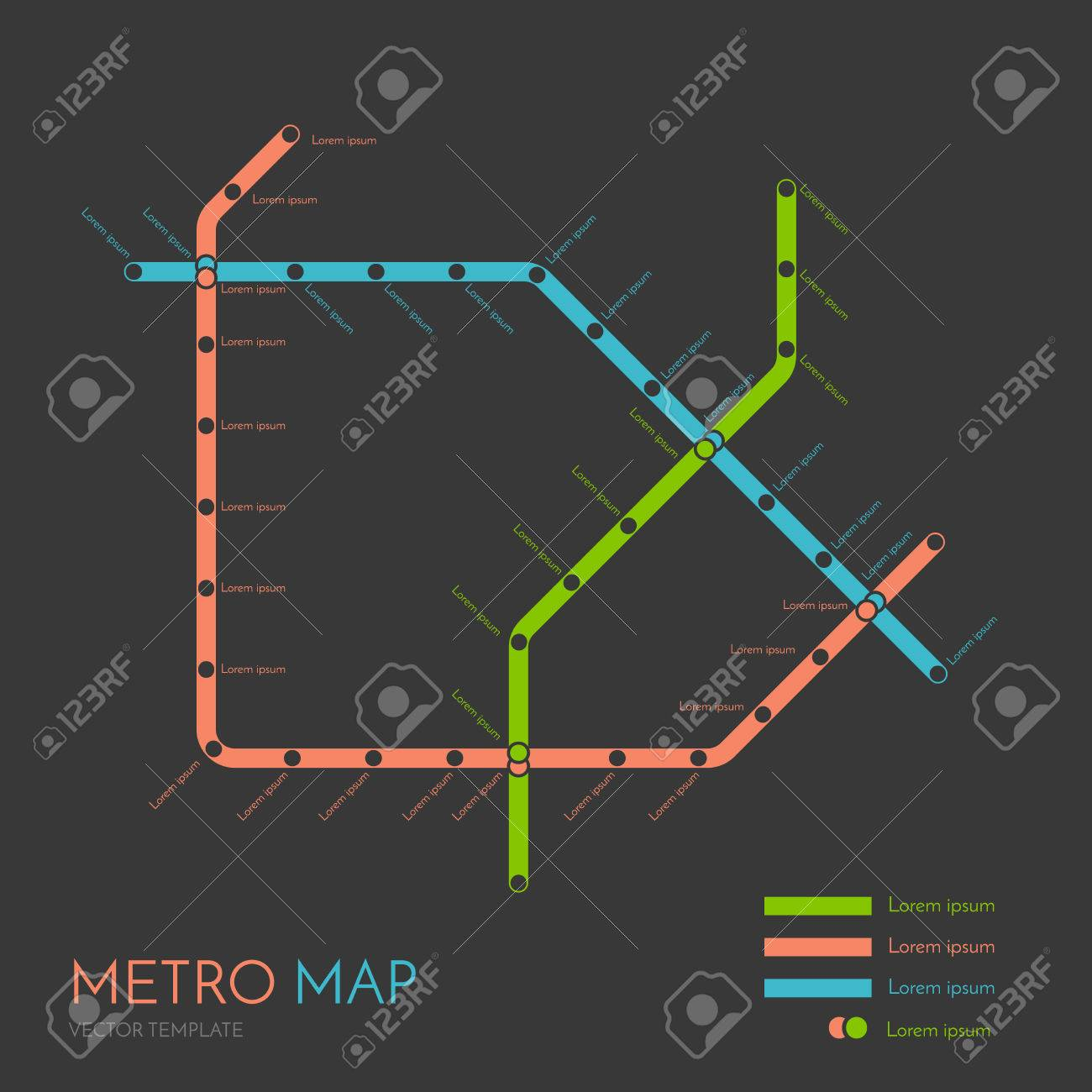Subway Map Graphic Design.Metro Or Subway Map Design Template City Transportation Scheme