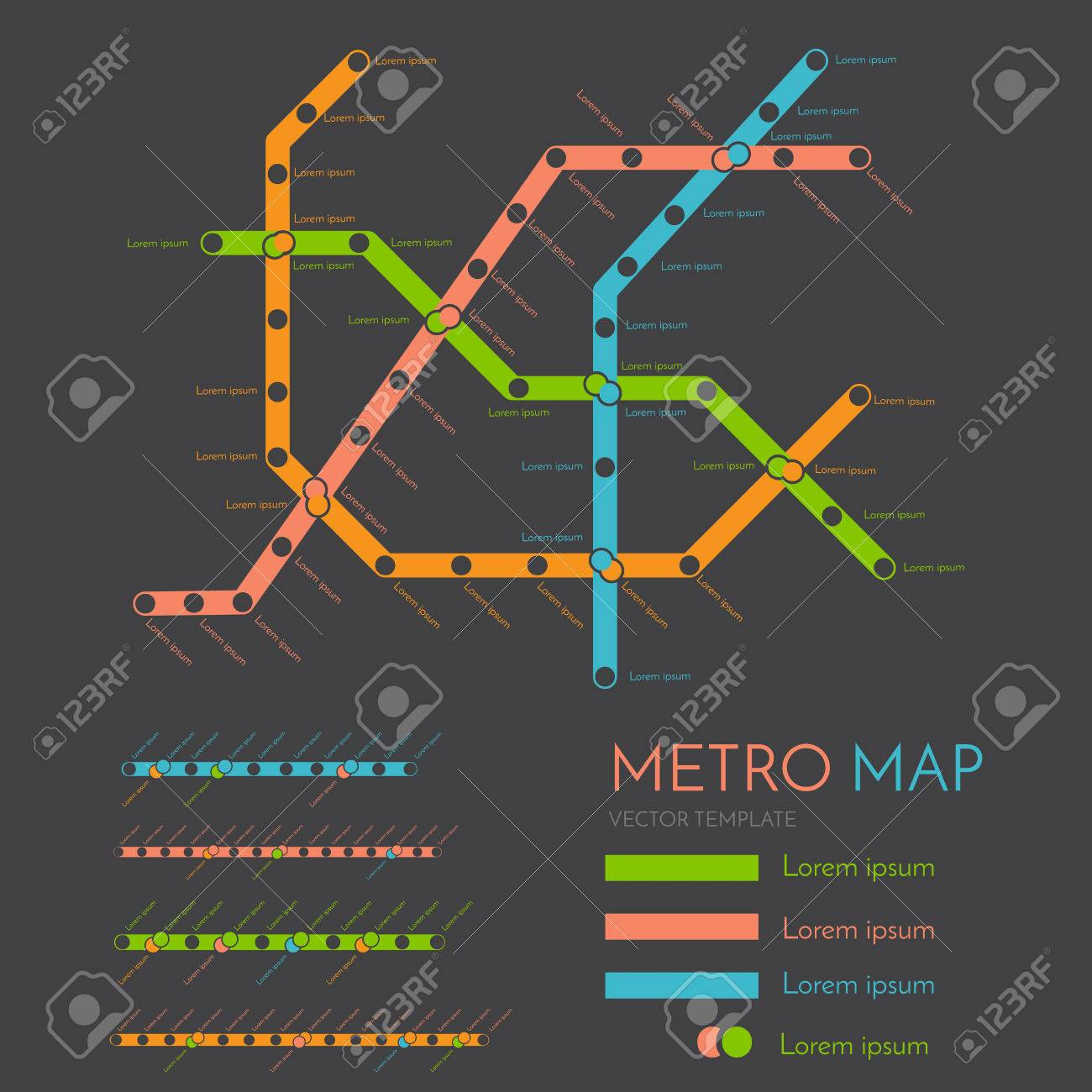 Creative Subway Map.Metro Or Subway Map Design Template City Transportation Scheme