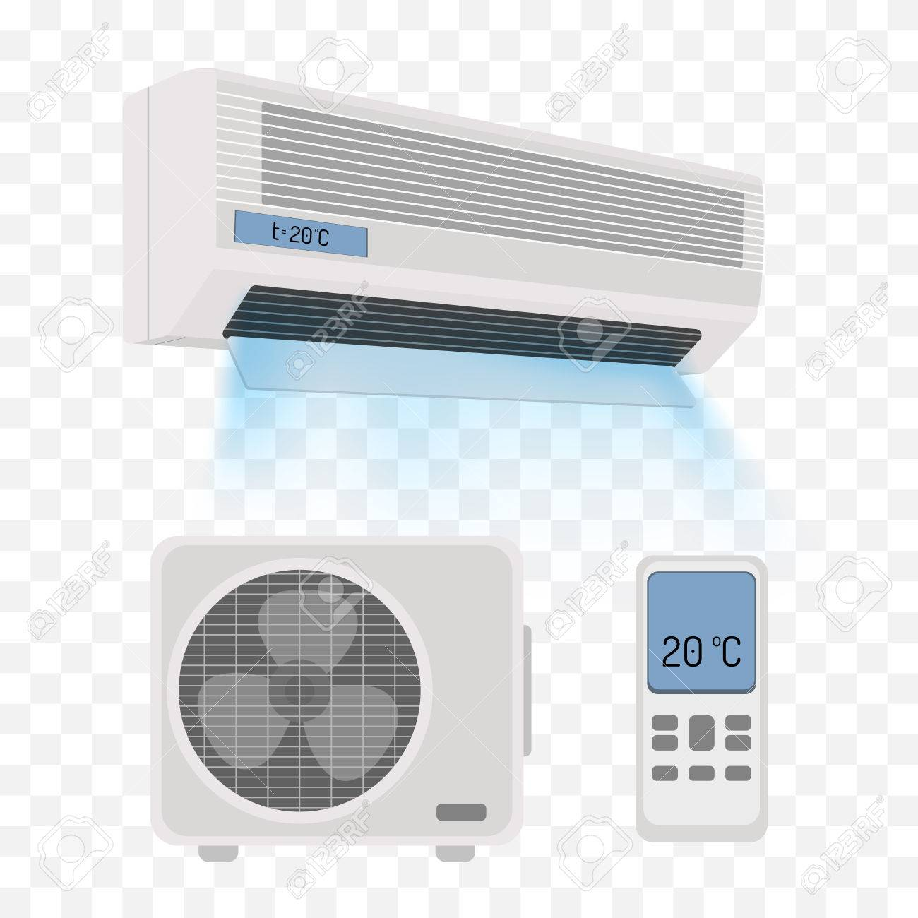 Air conditioner isolated on white. Vector illustration - 58730590