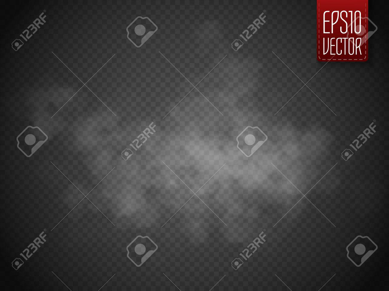 Fog or smoke isolated transparent special effect. White vector cloudiness, mist or smog background. Magic template. Vector illustration - 61057774
