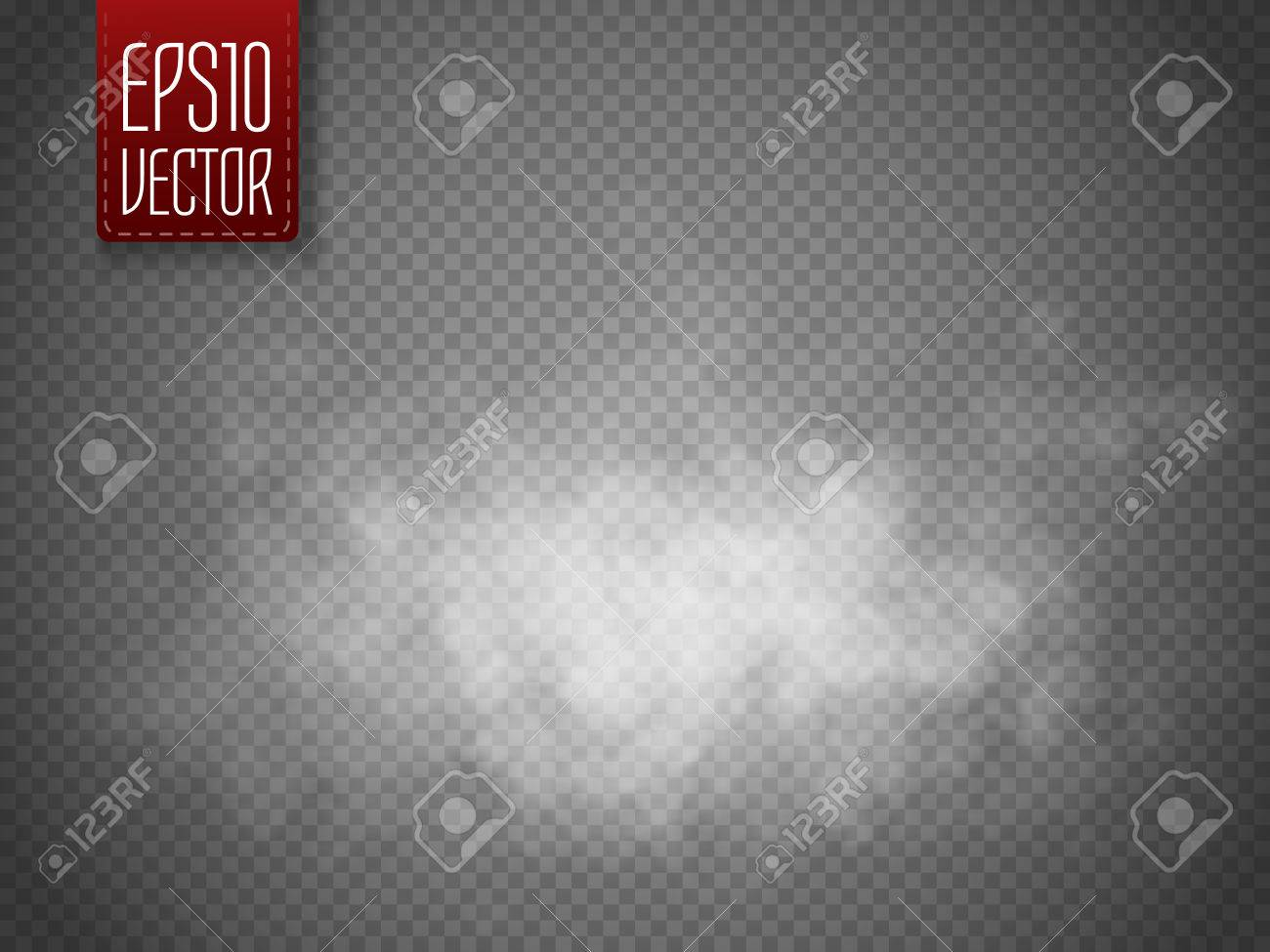 Fog or smoke isolated transparent special effect. White vector cloudiness, mist or smog background. Magic template. Vector illustration - 61057868