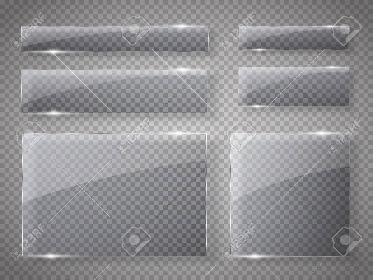 Glass plates set. Vector glass banners on transparent background. Vector illustration - 61069979