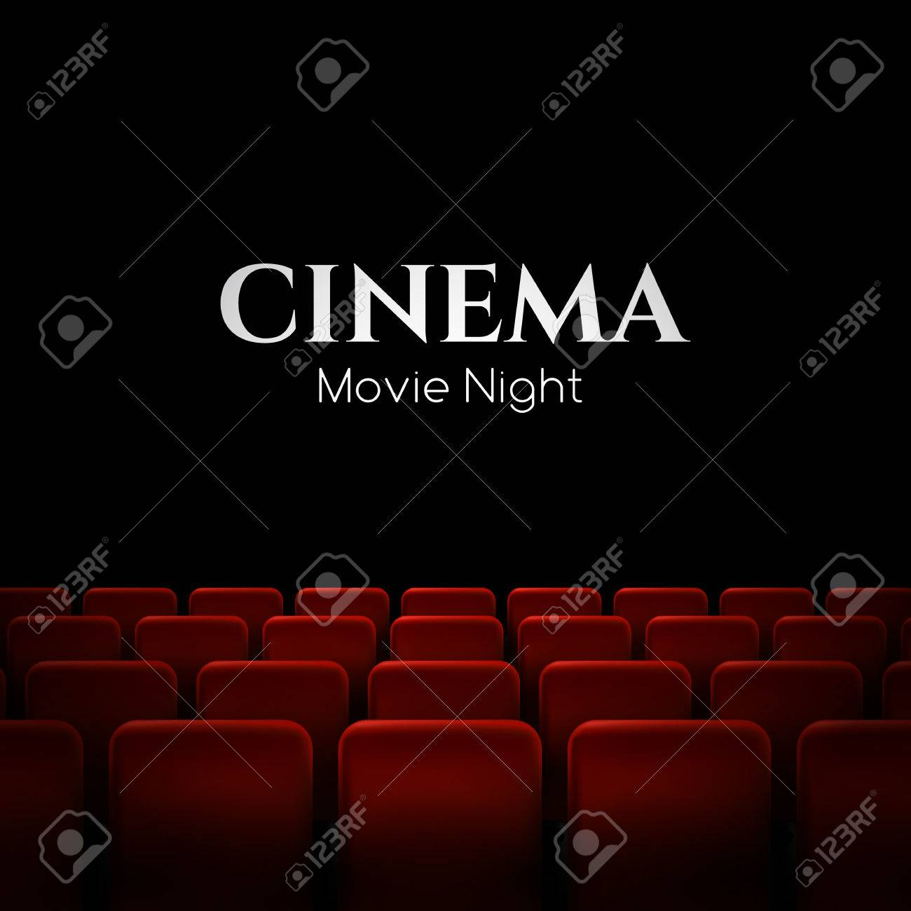 Movie cinema premiere poster design with red seats. Vector background. - 70776419