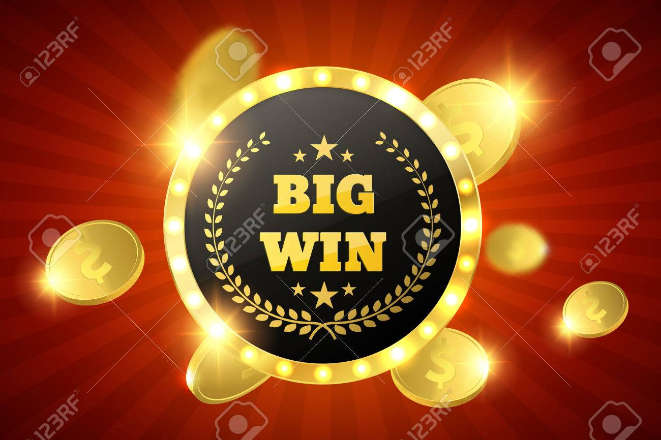 Big Win retro banner with glowing lamps. Vector - 70776478