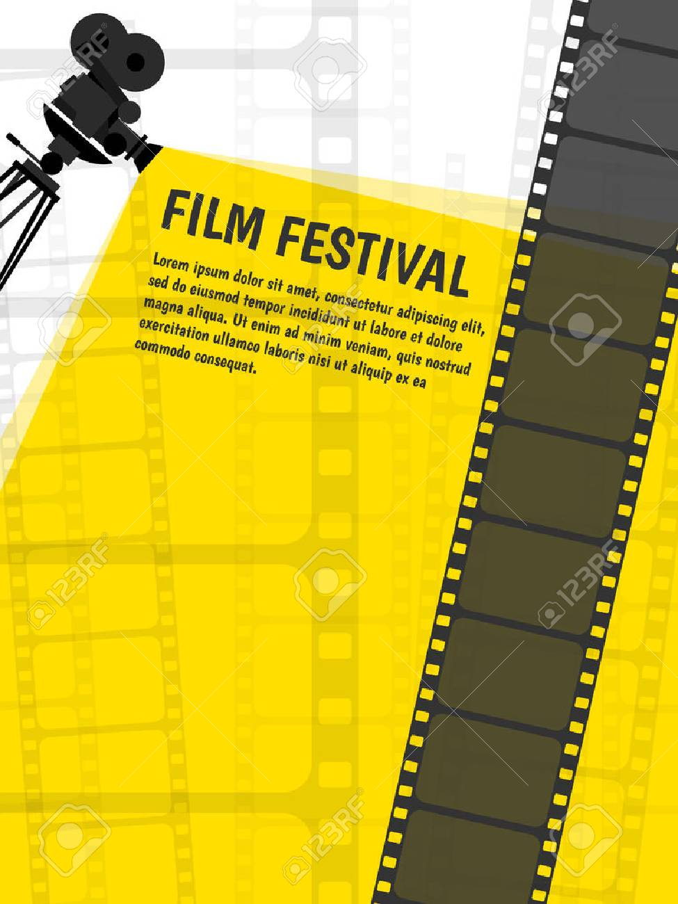 Cinema Festival Poster Or Flyer Template For Your Design Vector Stock