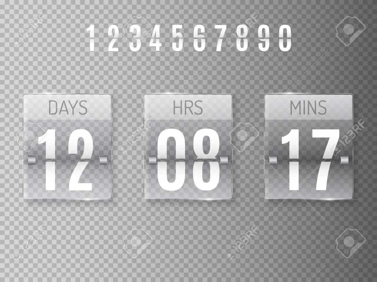 Glass Countdown timer isolated on transparent background  Clock