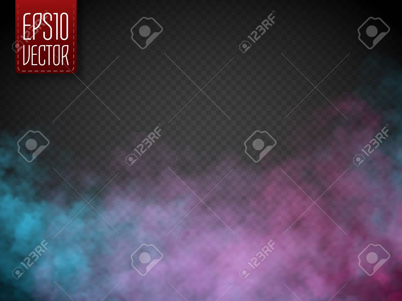 Colorful fog or smoke isolated, transparent special effect. Vector illustration - 74727303