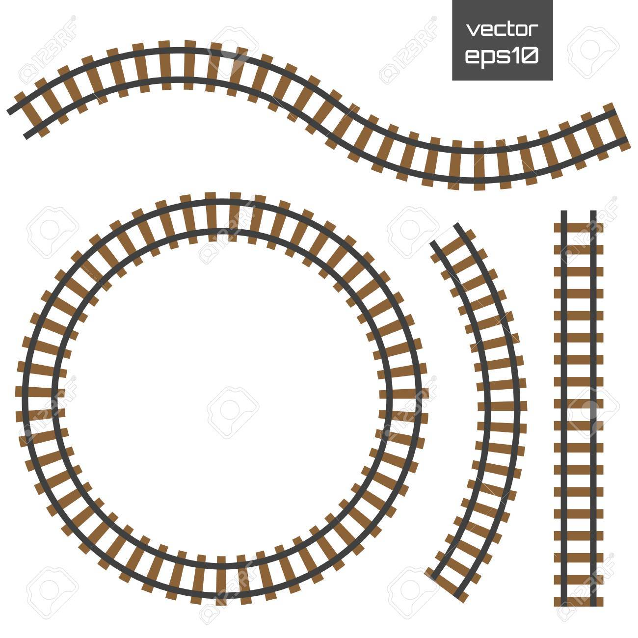 isolated vector rails set railways on white background railroad