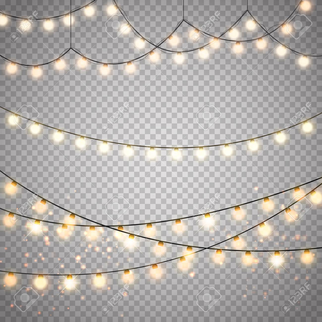 Christmas Lights Transparent Background.Christmas Lights Isolated On Transparent Background Vector Xmas
