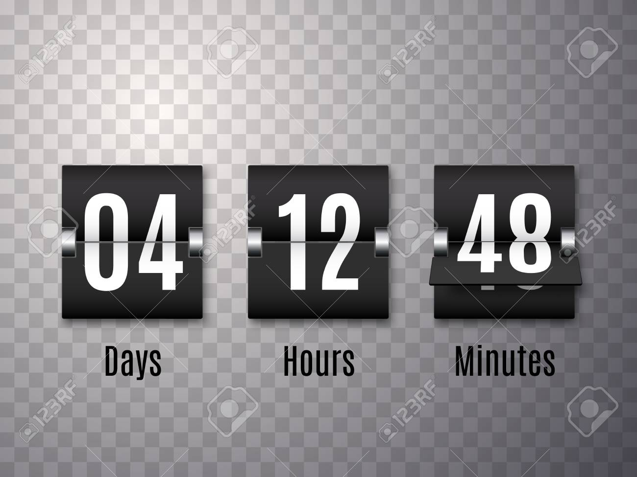 Countdown Timer With Numbers Isolated On Transparent Background