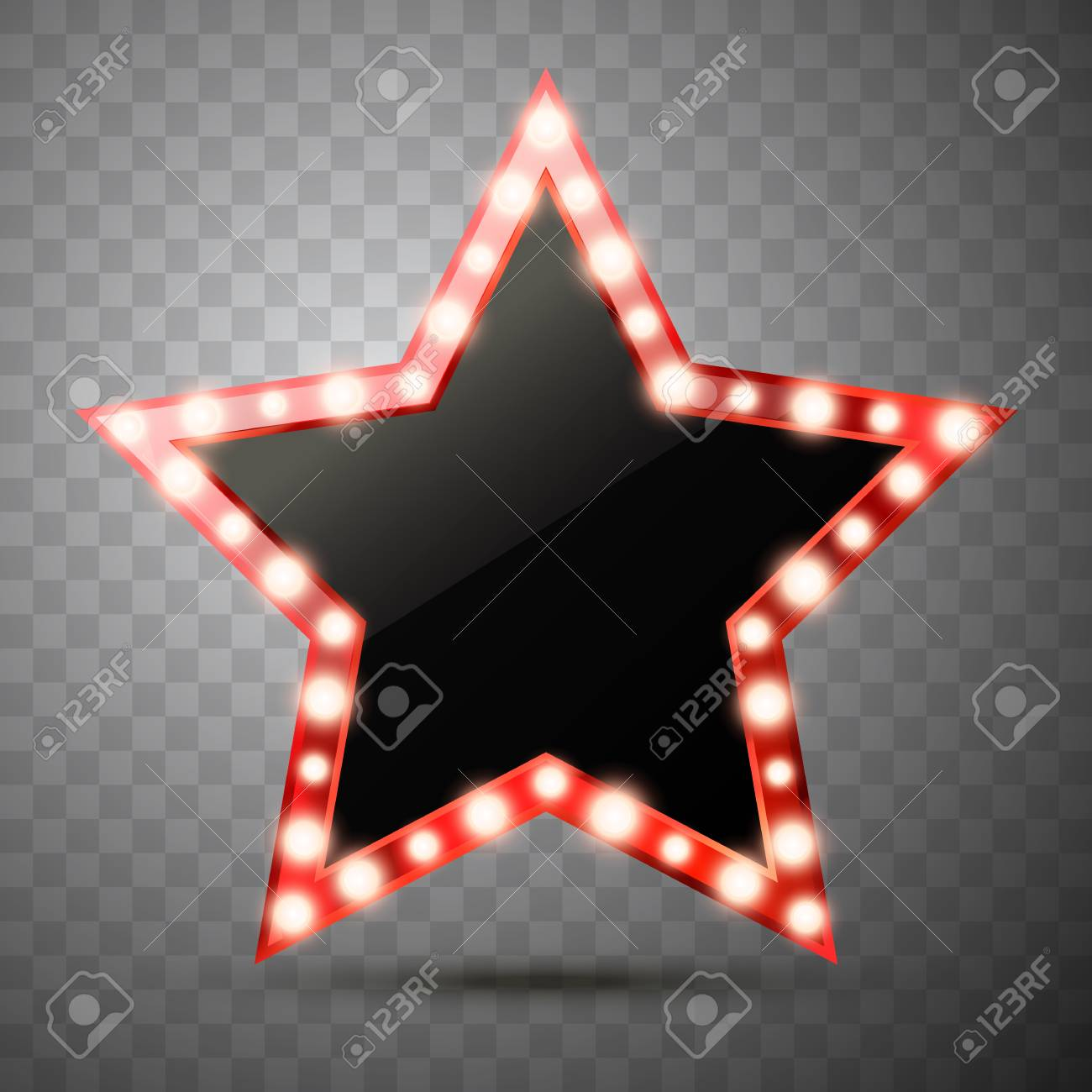Star with lights isolated. Luxury vector illustration of golden star with shine light bulbs. - 116217704