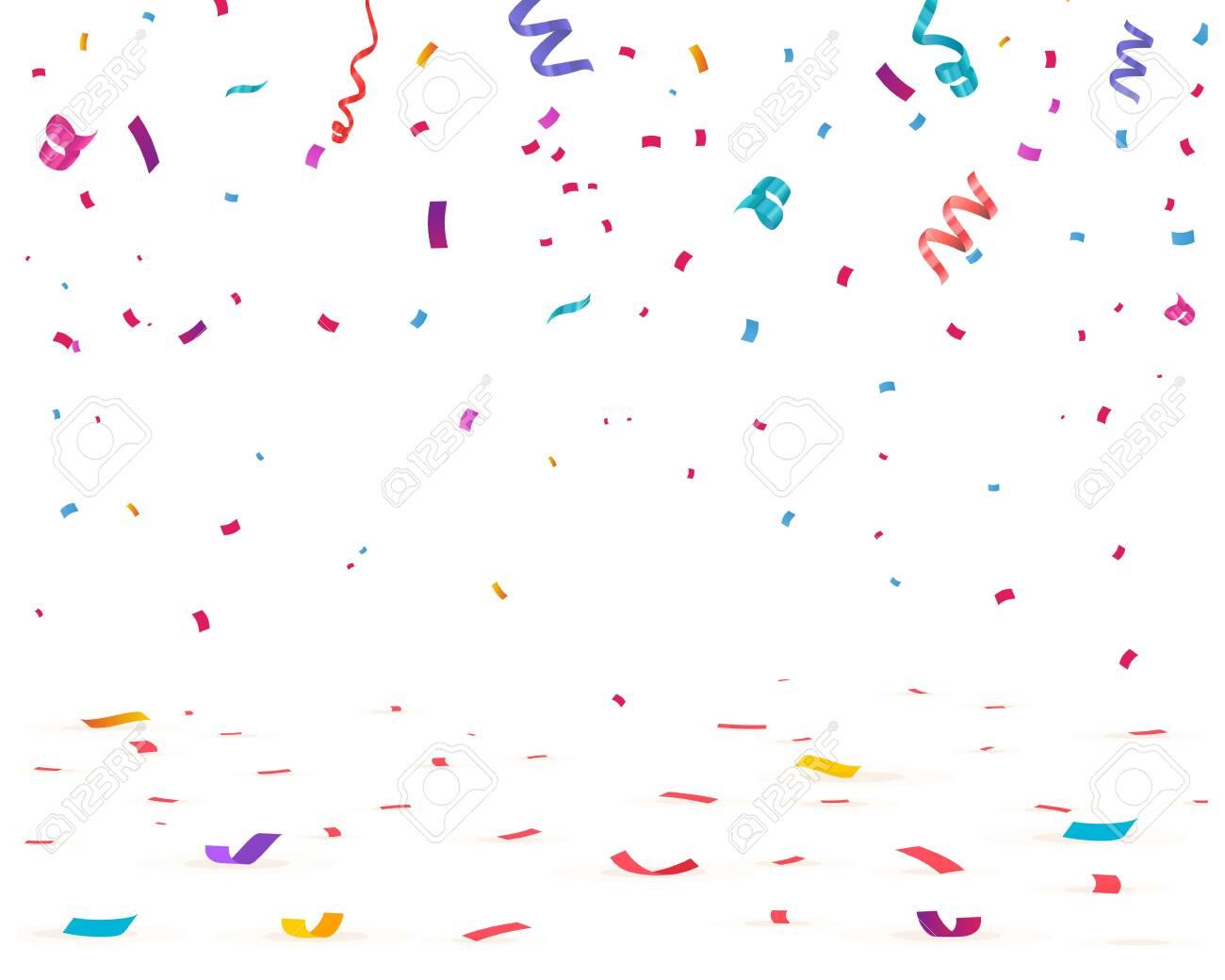 Confetti isolated on white background. Falling confetti, birthday vector illustration - 121740034