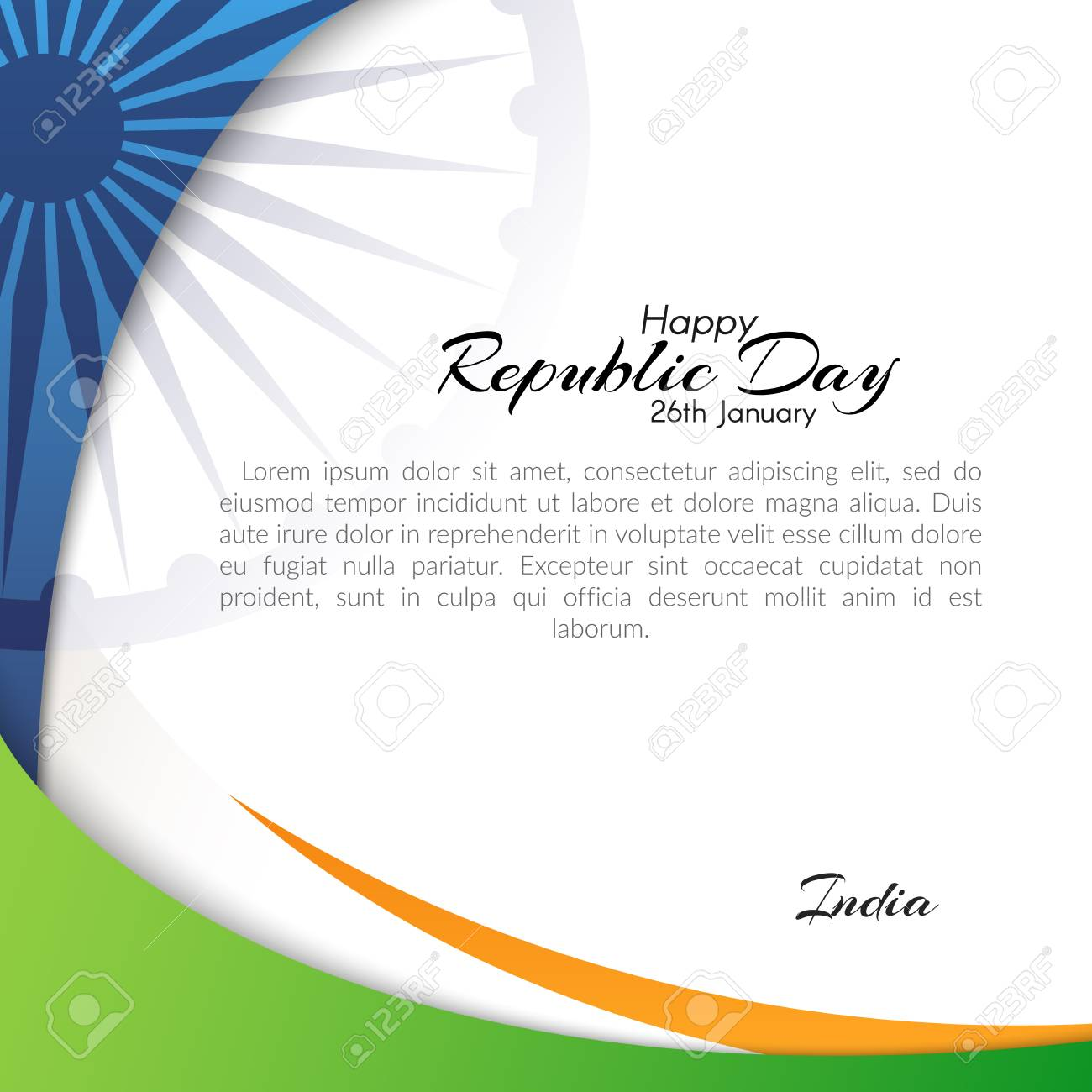 Banner With The Text Of The Republic Day In India On January