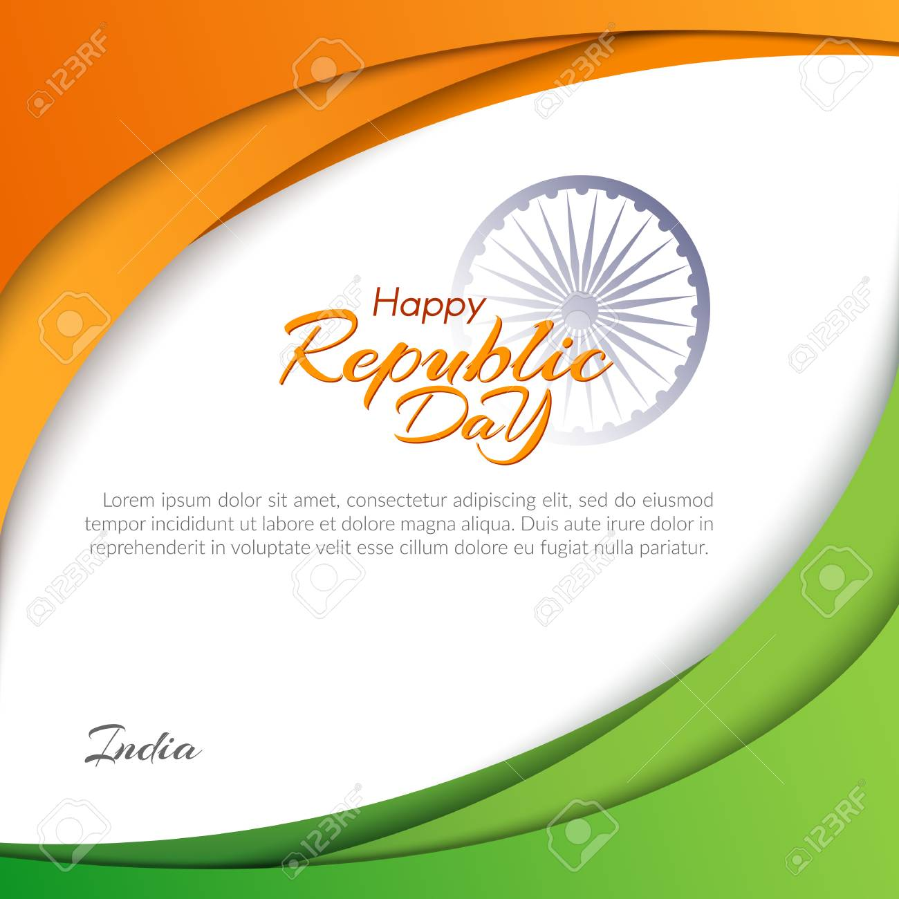 Template With The Text Of The Republic Day In India On January