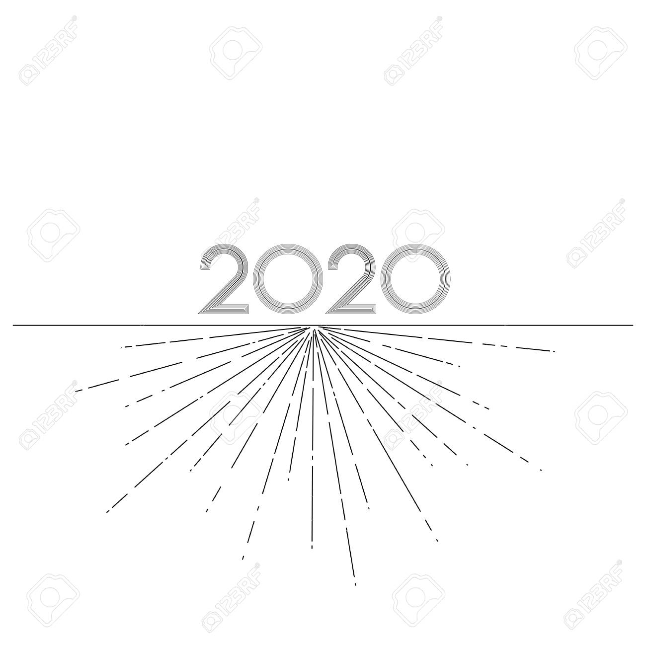 Graphic Lines 2020 New Year On A White Background Creative Element