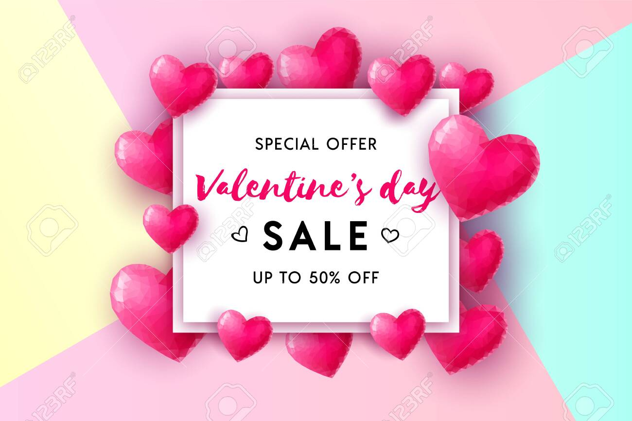 Valentine's Day sale concept vector background  3d pink low poly