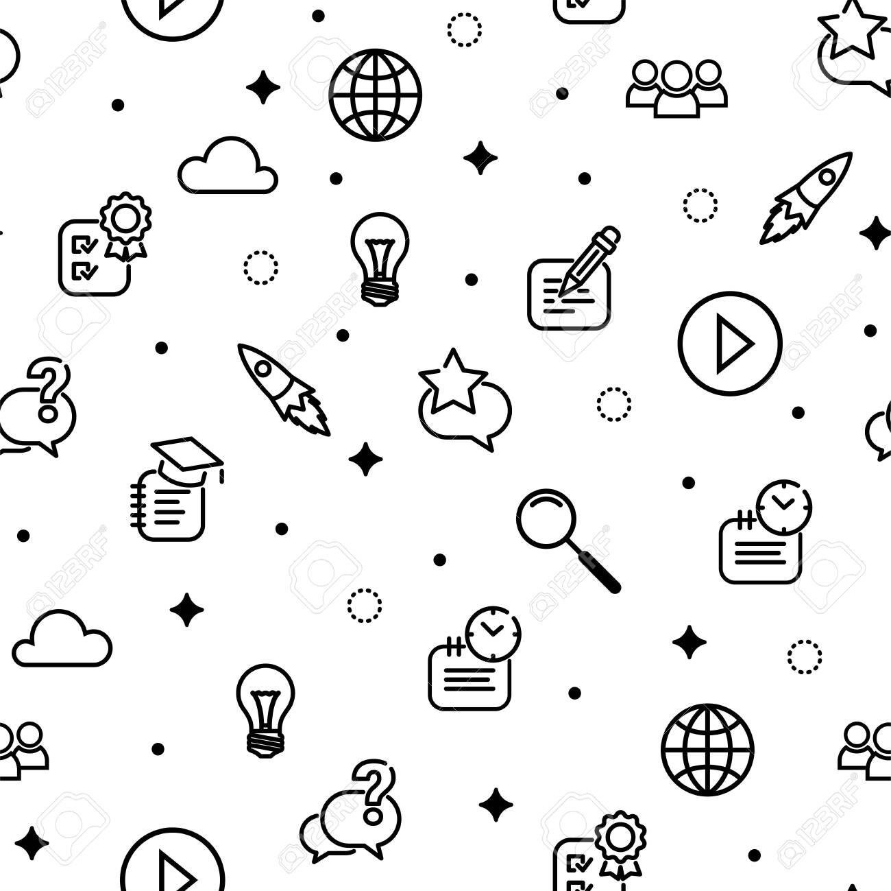 Online Education Seamless Pattern Black School Line Icons On Royalty Free Cliparts Vectors And Stock Illustration Image 146726282