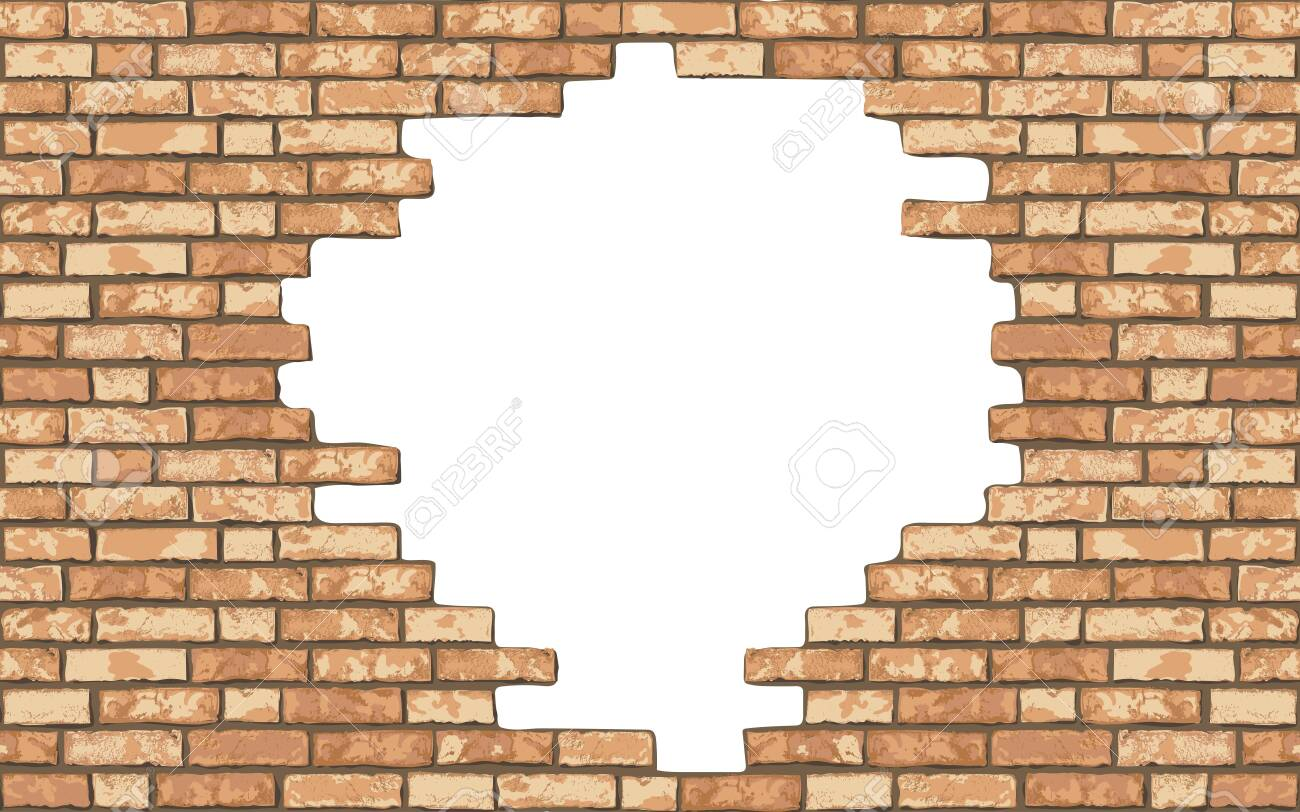 Vintage realistic broken brick wall background. Hole in flat wall texture. Yellow textured brickwork for web, design, decor, background. Vector illustration - 148141948