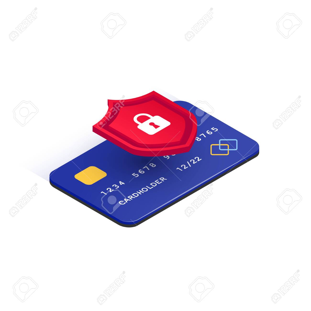 E-payment protection concept. Credit card online security isometric icon. Secure transaction. 3d plastic card and shield with lock isolated on white background. Internet safety. Vector illustration - 148141989