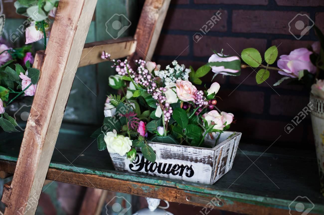 Delightful basket with silk flowers peonies on the shelf stock photo delightful basket with silk flowers peonies on the shelf stock photo 38580681 mightylinksfo