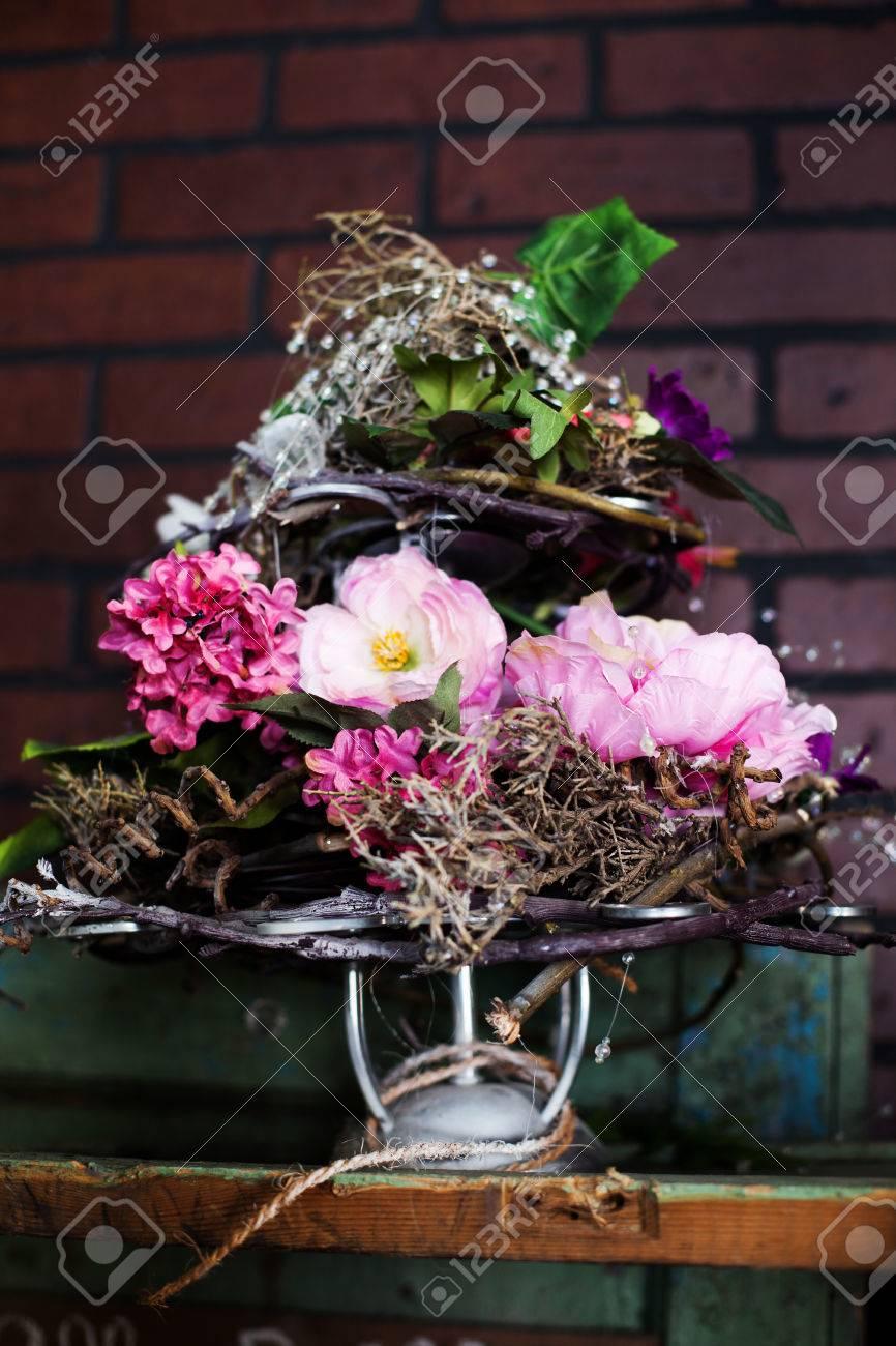 Delightful basket with silk flowers peonies on the shelf stock photo delightful basket with silk flowers peonies on the shelf stock photo 38580689 mightylinksfo