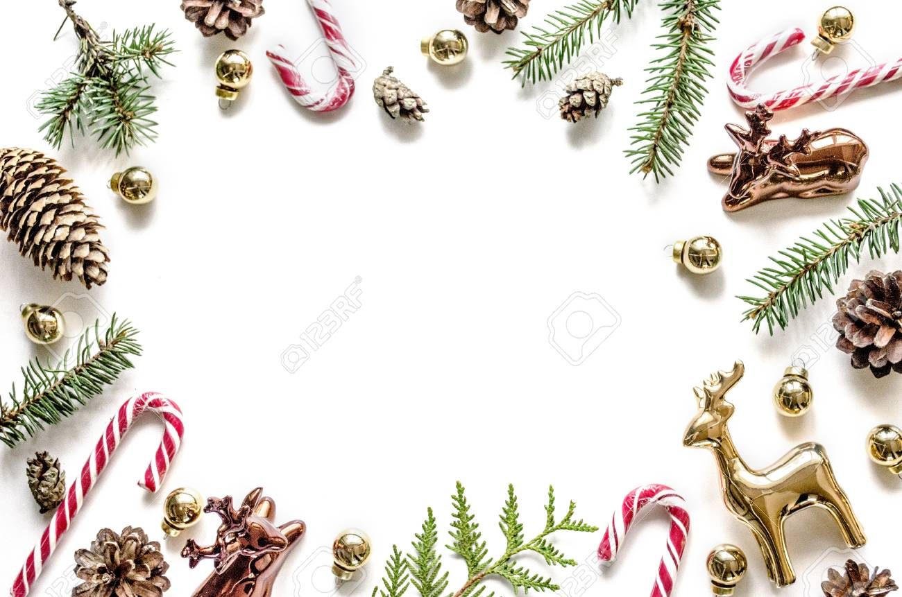 Christmas Frame.Christmas Frame Made Of Fir Branches Cones And Golden Deers