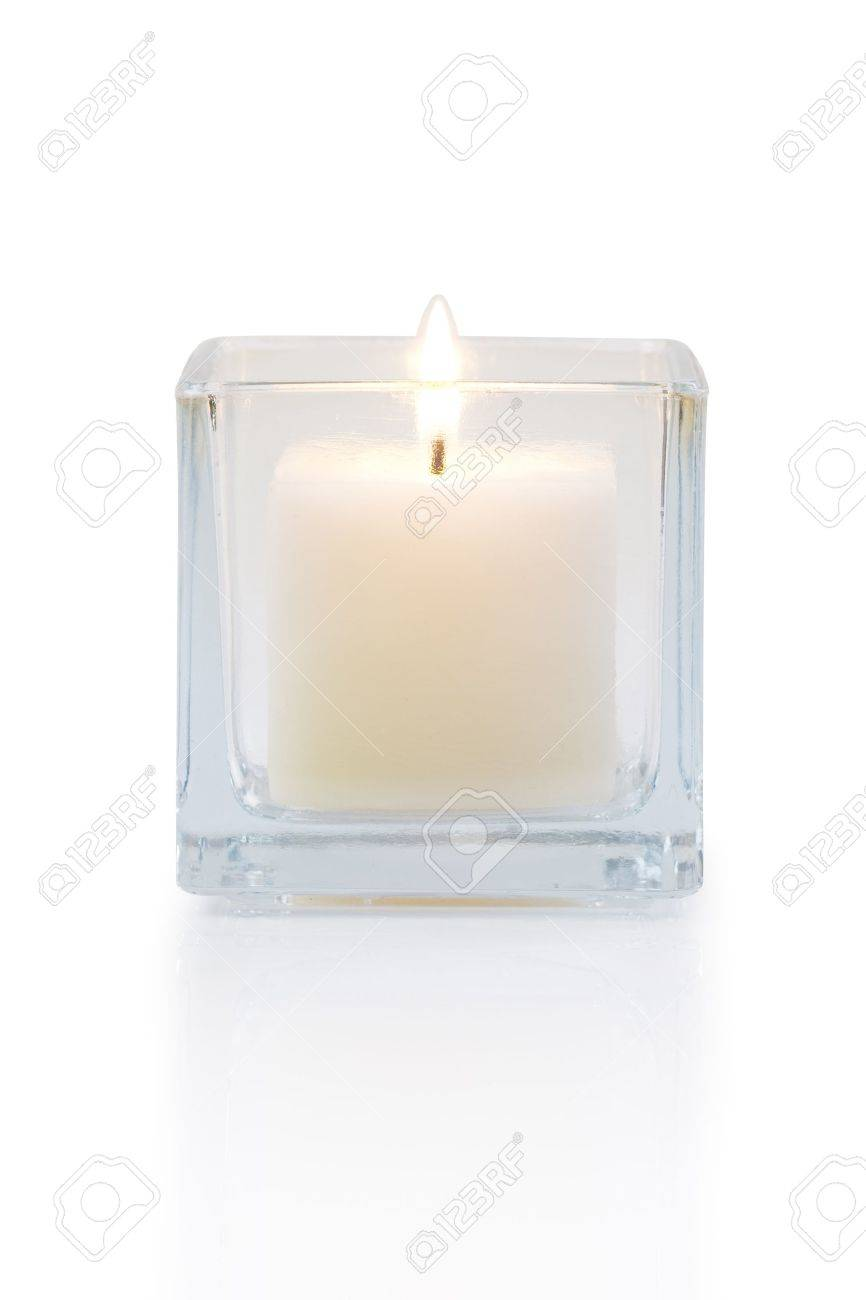 burning candle front view, isolated on white Stock Photo - 13835503