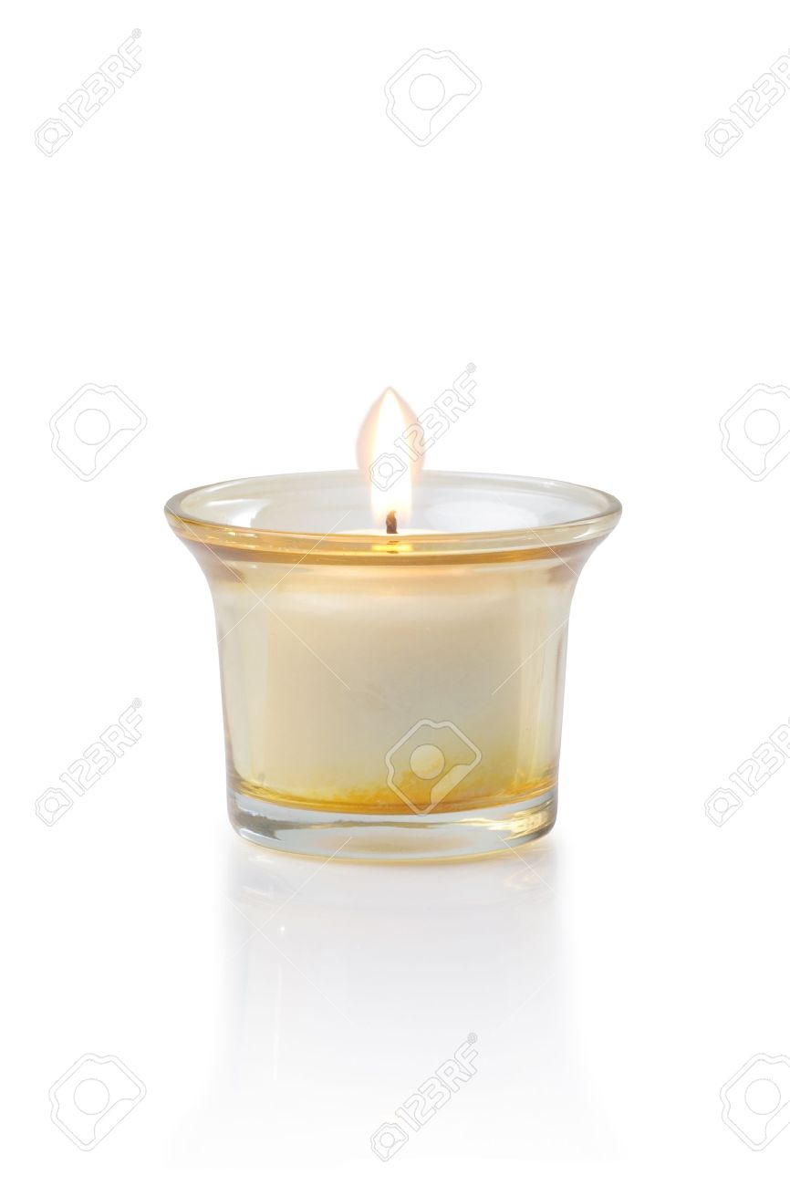 burning candle cut out on white background Standard-Bild - 15479003
