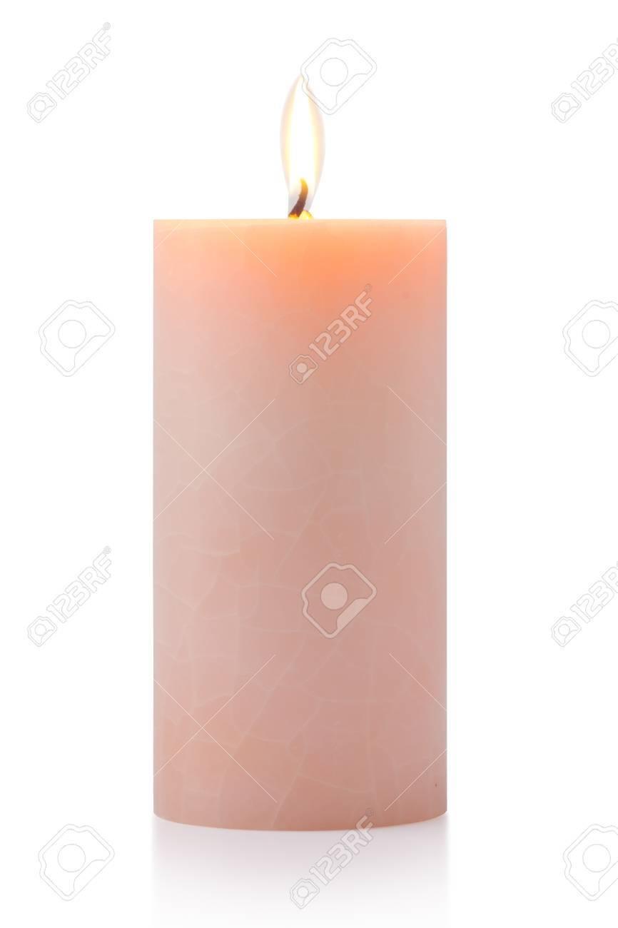 burning orange candle, isolated on white Standard-Bild - 15479013