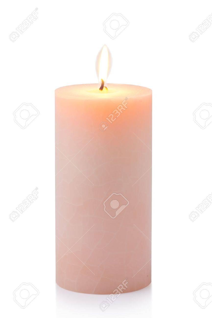 Brennen orange Kerze, isoliert auf weiß Standard-Bild - 15479009