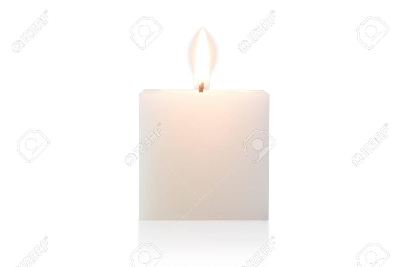 cubic burning candle, isolated on white Standard-Bild - 15478999