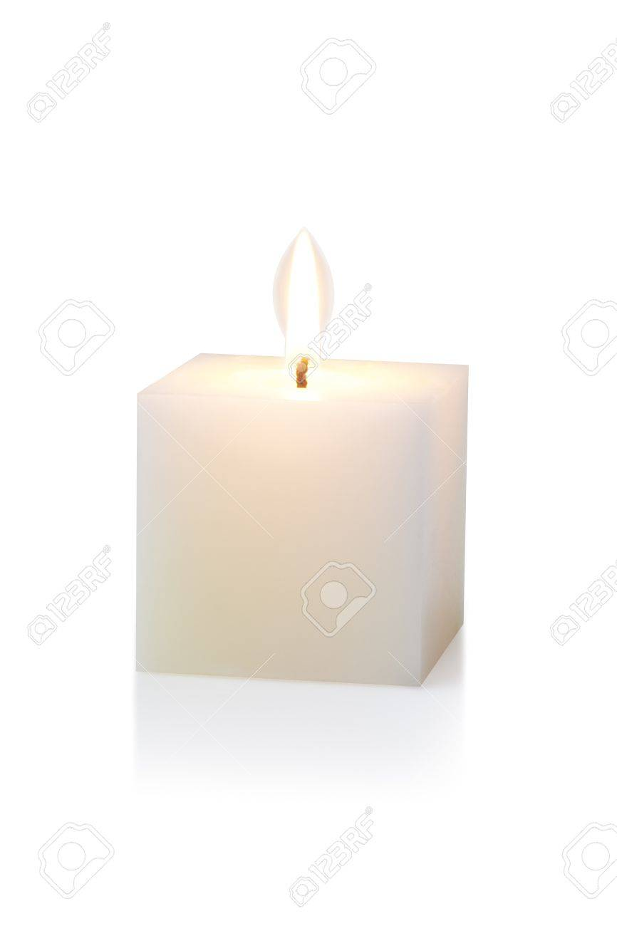 burning white cubic candle, on white Standard-Bild - 15479000