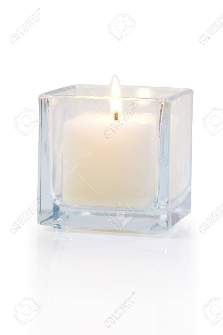 burning candle side view 20 degree, on white background Standard-Bild - 15479017