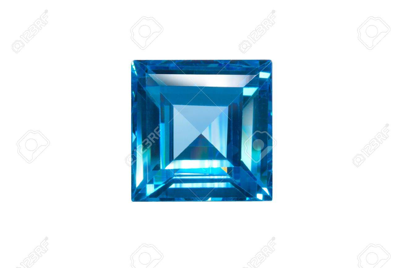 blue sapphire sqaure cut isolated white Standard-Bild - 15479015