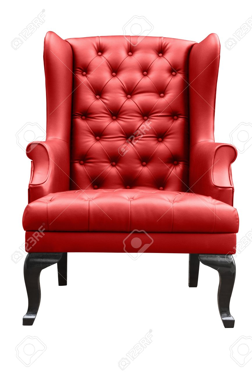 red leather armchair isolated on white Standard-Bild - 18399396