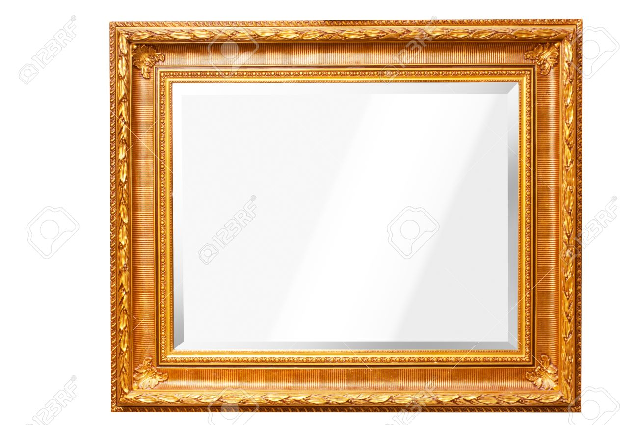 Mirror With Gold Frame Isolated Stock Photo, Picture And Royalty ...