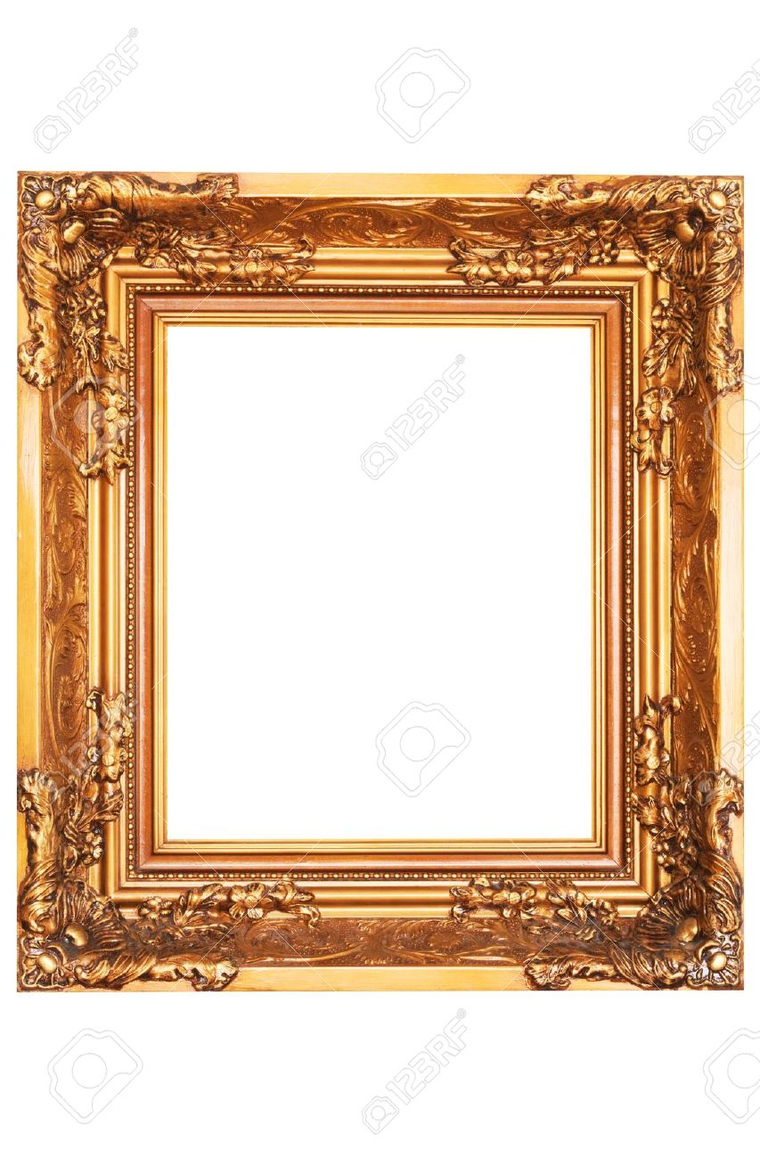 stock photo classic mirror with gold frame isolated