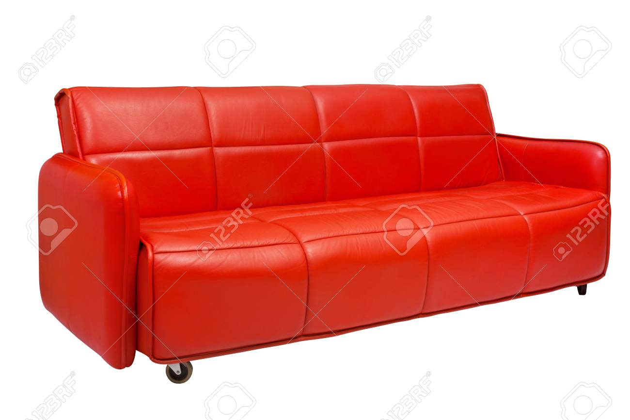 red leather sofa with wheels