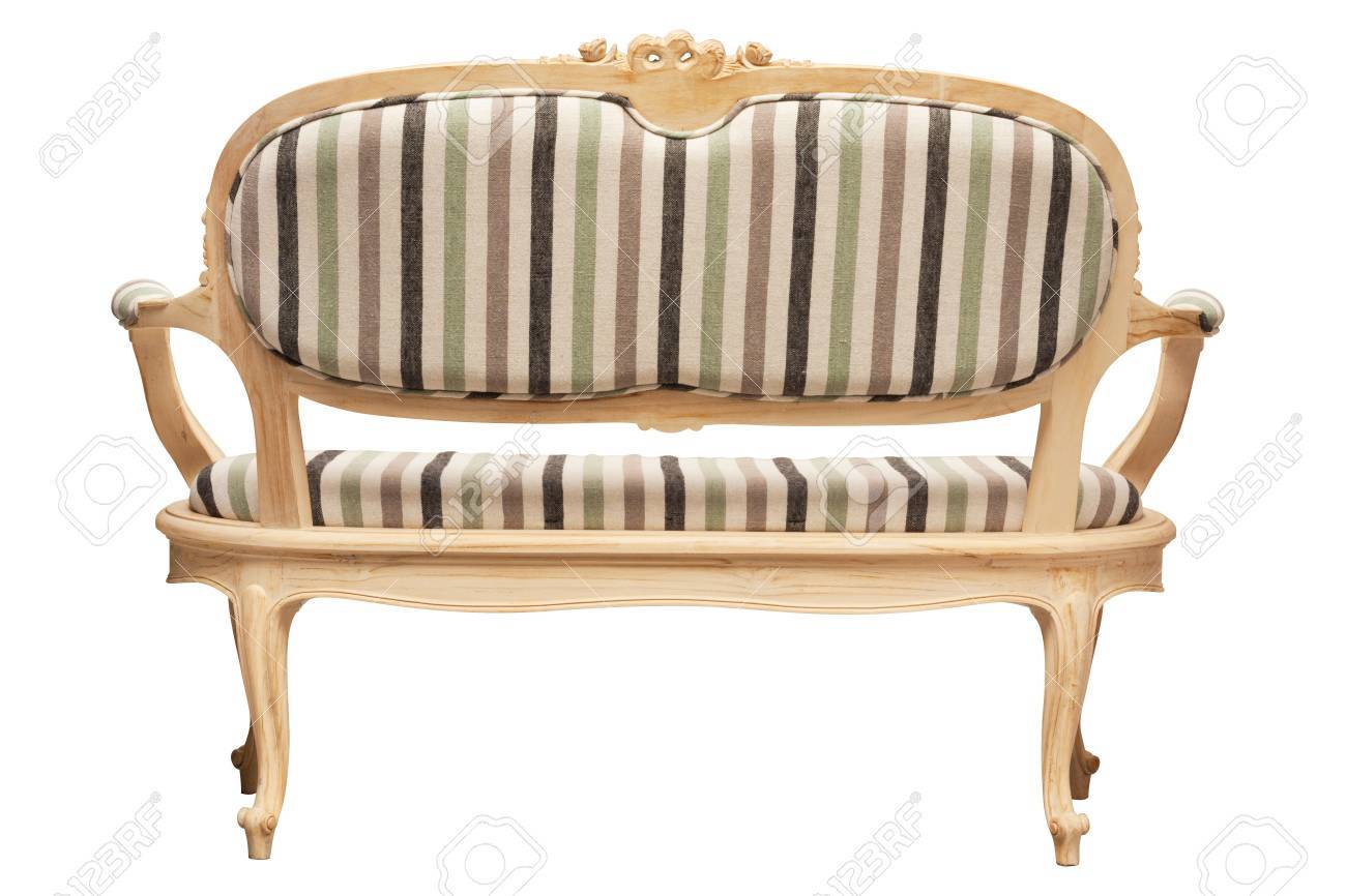 Vintage-Möbel Rückansicht Isoliert Auf Weiß Lizenzfreie Fotos ...