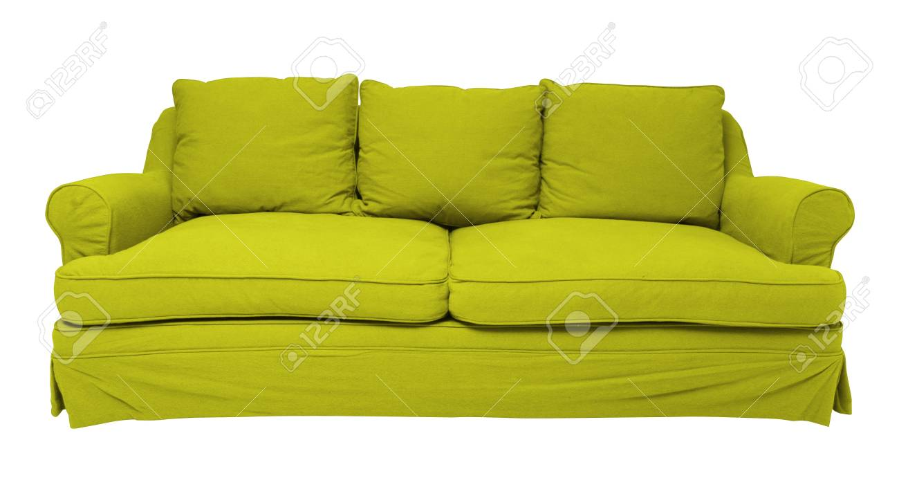 Simply Modern Green Sofa Isolated On White Stock Photo, Picture And ...
