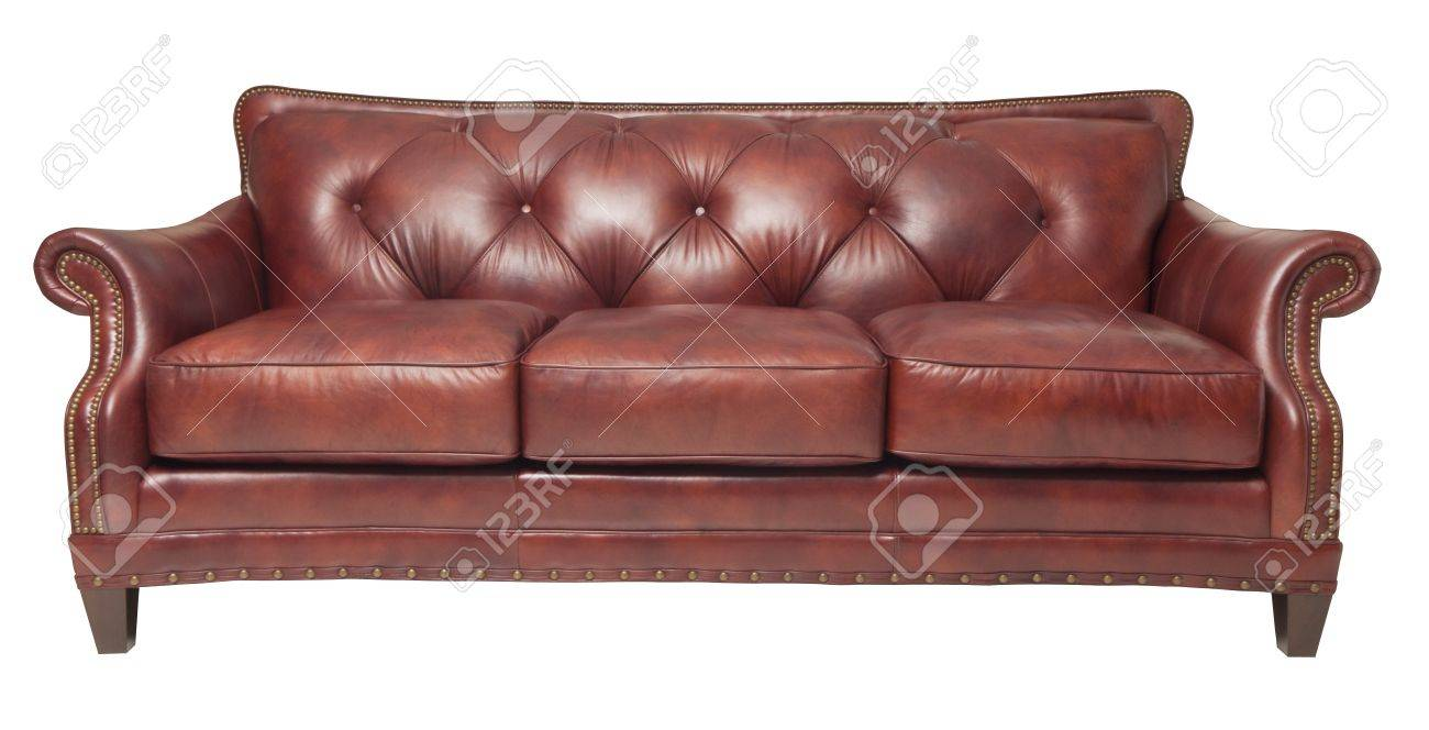 brown luxury leather couch isolated on white Standard-Bild - 21652388