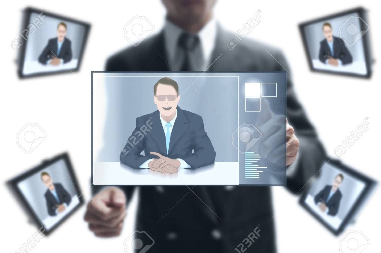 businessman online to his partnership on video conference. Standard-Bild - 25158295